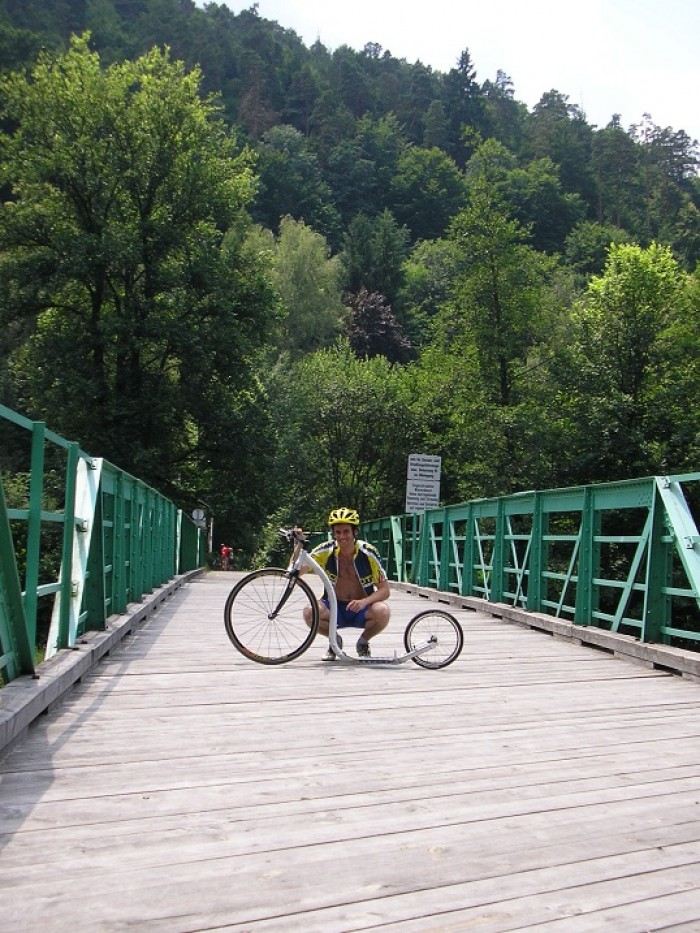 Most přes Dyji do Rakouska - a můj nový stroj