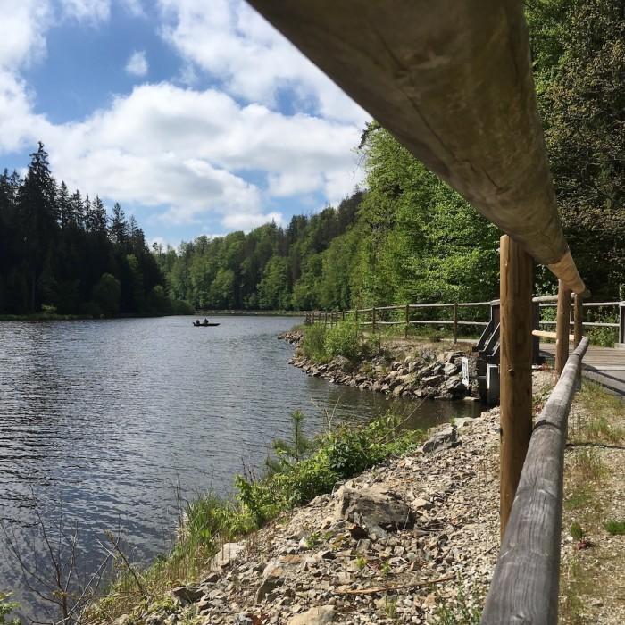 Podél hladiny Hněvkovické přehrady vede překrásná stezka