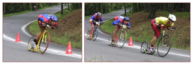 Sjezdový postoj v závodních podmínkách v podání českých reprezentatnů (modro, červené dresy), úchop řidítek podhmatem v provedení holandského závodníka, který ovšem prošel důkladným finským školením.